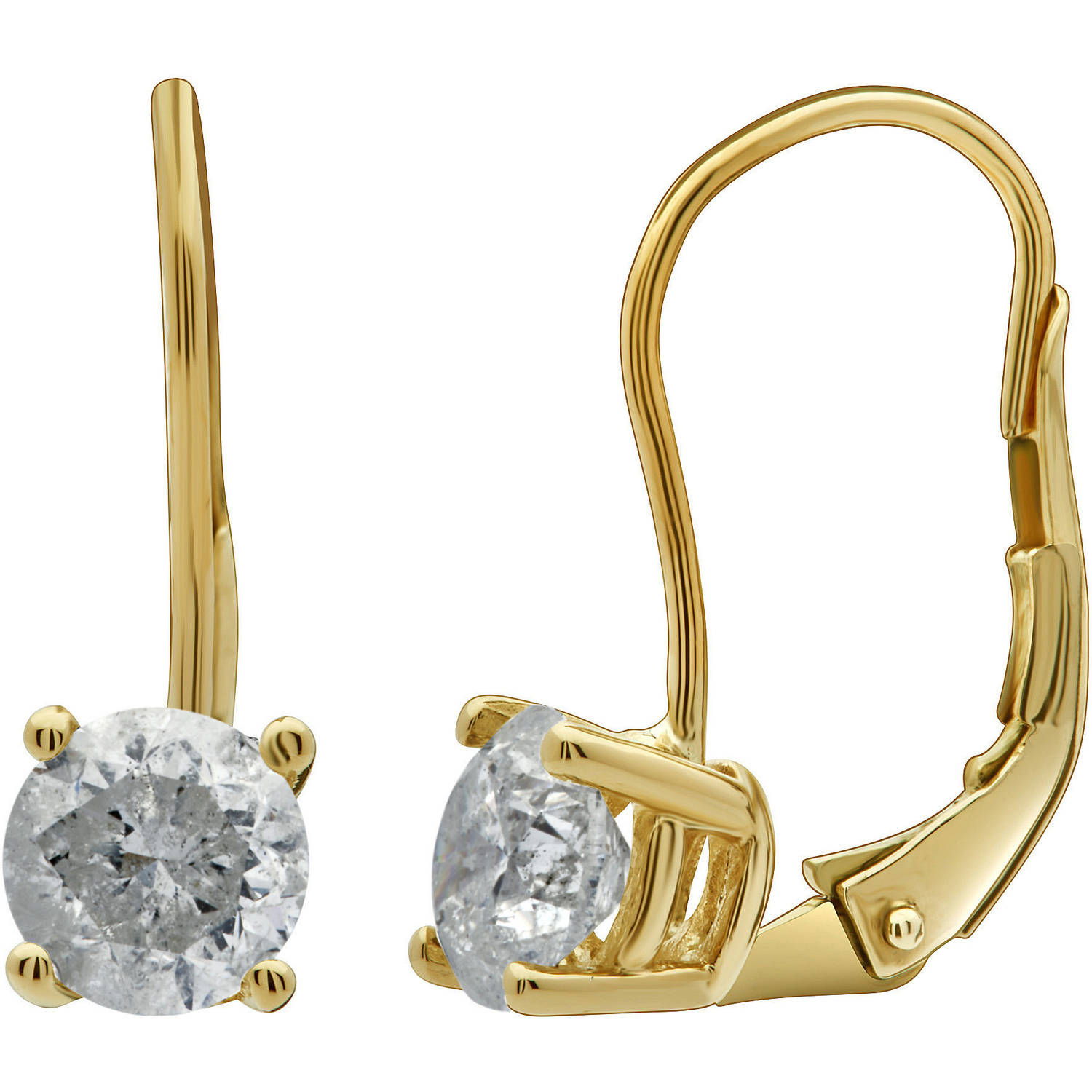 1-1/2 Carat T.W. Round Diamond 14kt Yellow Gold Leverback Stud Earrings, IGL Certified, Comes in a Box
