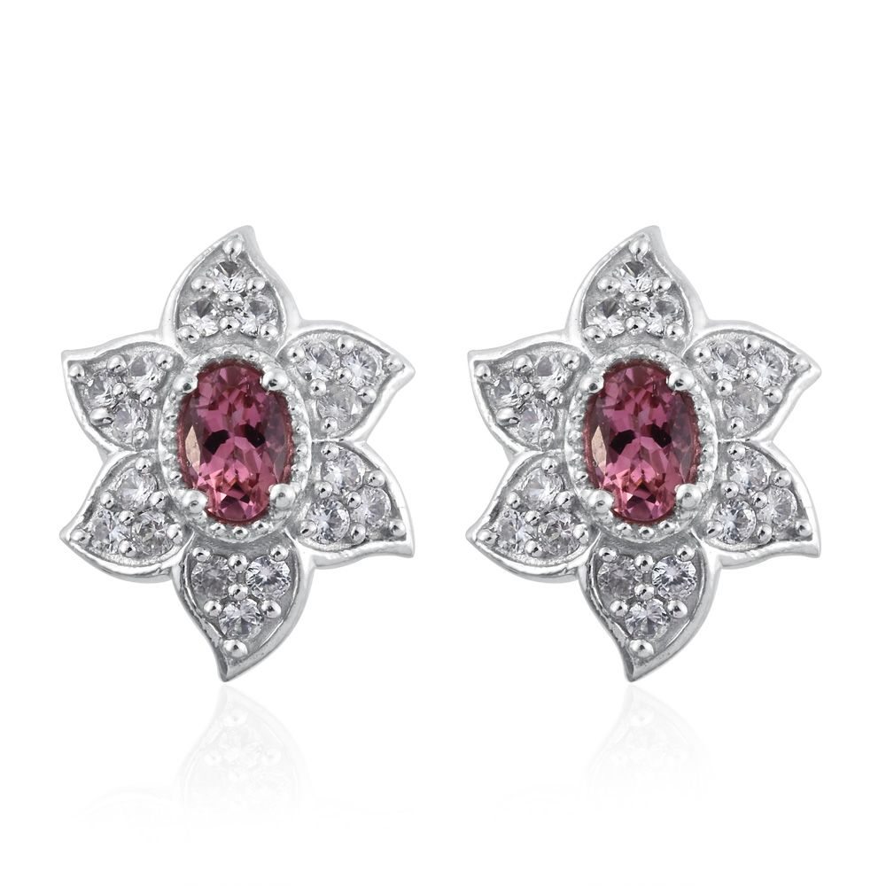 Pink Tourmaline, Zircon Platinum Plated Silver Stud Earrings 1.82 cttw. by Shop LC