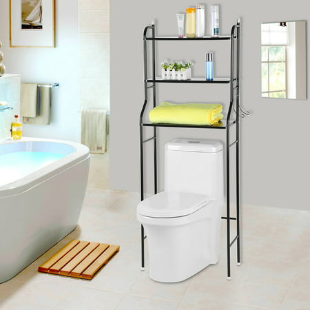 Super Toilet Free Standing Towel Holder Estink 3 Tier Iron Towel Rack Over Bathroom Shelf Organizer Black Home Interior And Landscaping Ologienasavecom