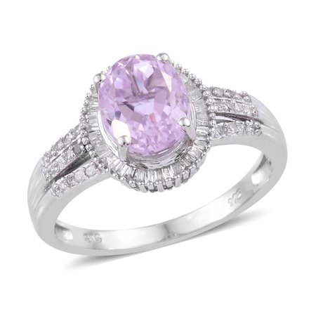 Martha Rocha Kunzite Diamond Halo Ring 925 Sterling Silver Platinum Plated Gift Jewelry for Women Size 10 Ct (Kunzite Ring)