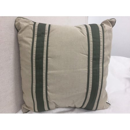 Nautica Khaki w/Green Stripe Decorative Throw Pillow, (Nautica European Decorator Pillow)