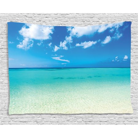 Tropical Tapestry  Paradise Ocean Dreamy Sea Vacation Serene Summer Exotic Relax Summer Picture  Wall Hanging For Bedroom Living Room Dorm Decor  60W X 40L Inches  Turquoise Blue  By Ambesonne
