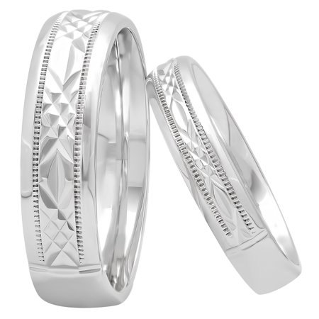 His and Hers Sterling Silver Diamond Cut Matching Wedding Band Set – Two-piece set (Mens Wedding Bands Diamond Cut)