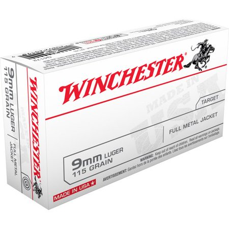Winchester 9mm Luger 115-Grain Full Metal Jacket Bullets, 50ct