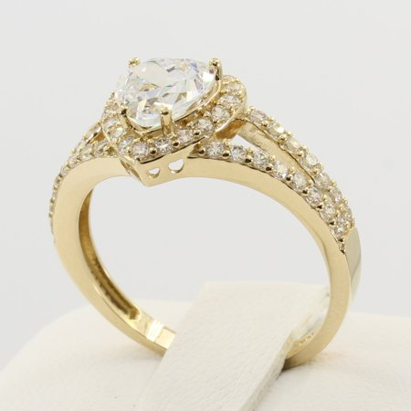 1.75 Ct 14K Real Yellow Gold Heart Cut Shape with Round Pave Set Side Stones Illusion Halo Setting Solitaire Engagement Propose Promise Ring