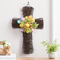 """Way To Celebrate 20"""" Easter Cross with Bright Glitter Multicolor Eggs"""