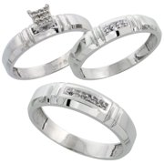 sterling silver diamond trio wedding ring set his 55mm hers 4mm rhodium finish - Wedding Ring Trio Sets