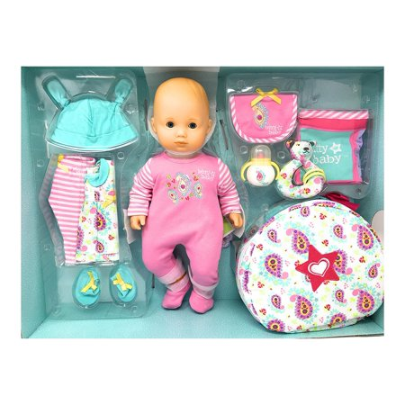 American Girl Bitty Baby Doll Starter Collection Light Skin Blond Hair Blue