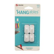 VELCRO Brand HANGables Permanent Adhesive Hooks   Plastic Hanging Hook for Rough and Smooth Surfaces   Indoor and Outdoor Fasteners for Lightweight Items   Micro, Holds white 4 ct