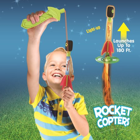 Light up Slingshot Rocket Copter Flying Toy, Party Fun Helicopter Flying toy. Flies Up to 180 Ft.
