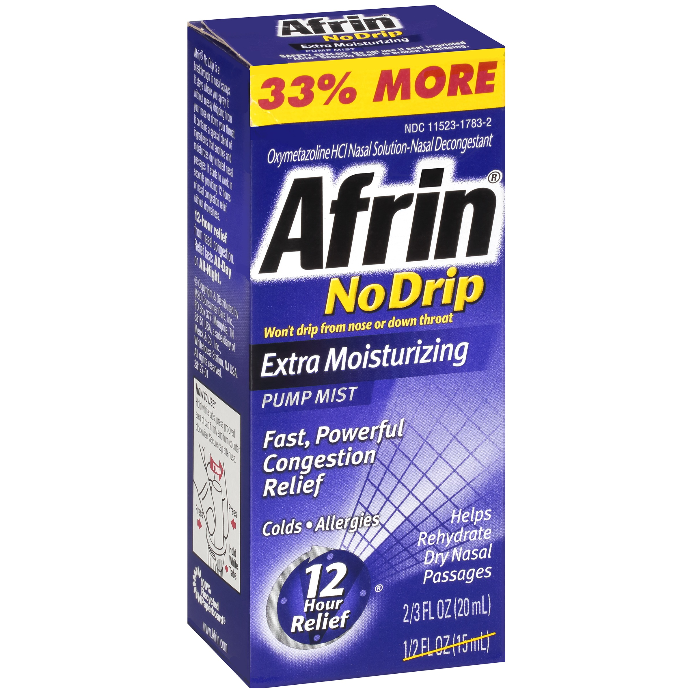 Image of Afrin ® No Drip Extra Moisturizing Nasal Decongestant Pump Mist 0.666 fl. oz. Box