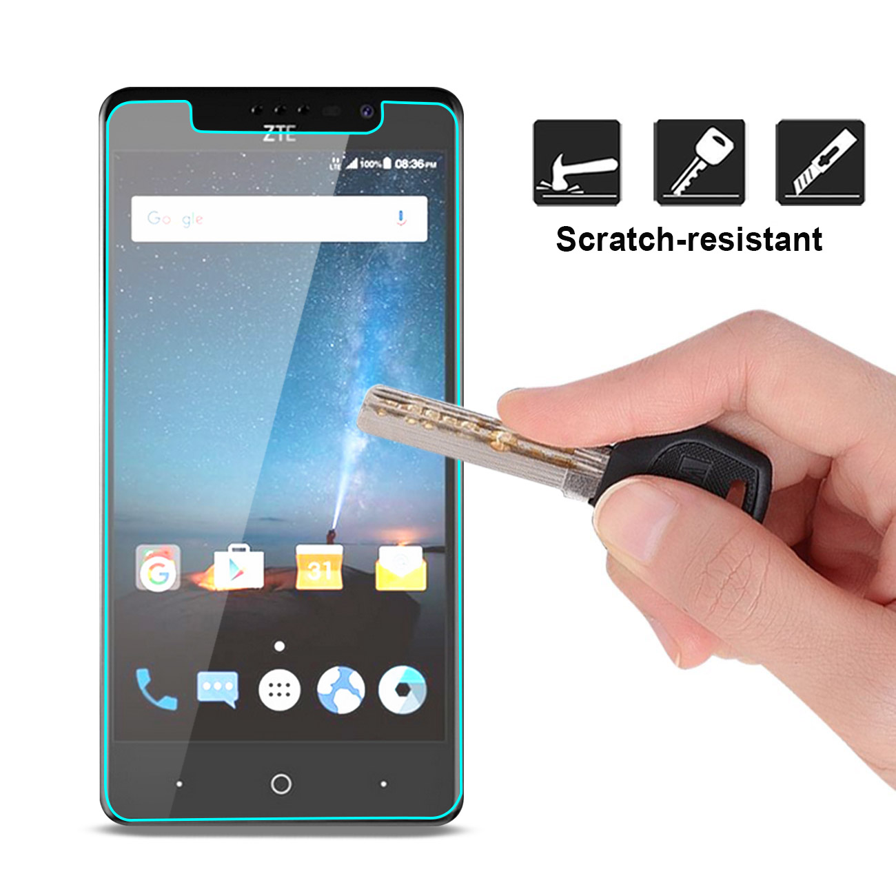 100/% fits Vikuiti 2X CV8 Screen Protector for ZTE Reef high Adhesiveness Scratch-Resistant Ultra Clear
