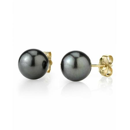 14K Gold 8-9mm Tahitian South Sea Cultured Pearl Stud Earrings - AAAA Quality Mikimoto Tahitian Pearls