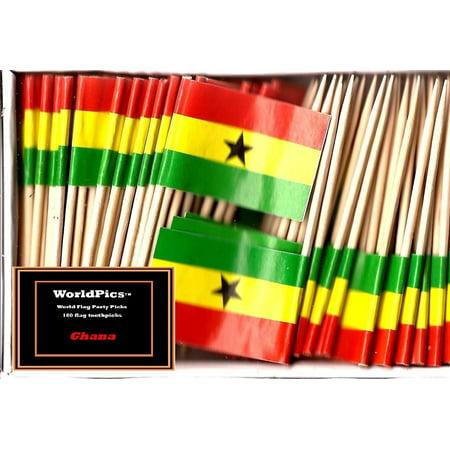 One Box Mini Ghana Toothpick Flags, 100 Small Ghanaian Cupcake Flag Toothpicks or Cocktail Picks
