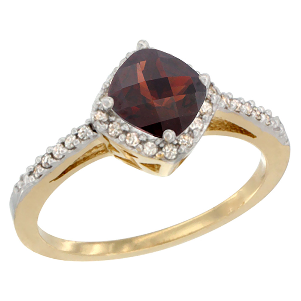 10K Yellow Gold Natural Garnet Ring Cushion-cut 6mm Halo Diamond Accent, sizes 5 10 by WorldJewels