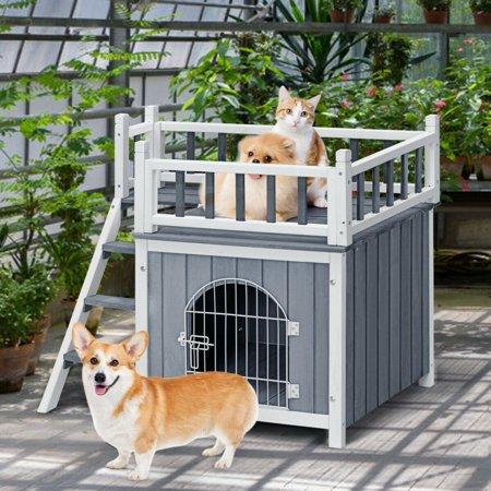 Gymax Wooden Pet House Dog Cat Puppy Room Bed Platform Bed Shelter Indoor