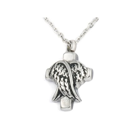 Angel Wings Cross Cremation Urn Necklace Keepsake Memorial Jewelry Ash (Angel Locket Necklace)