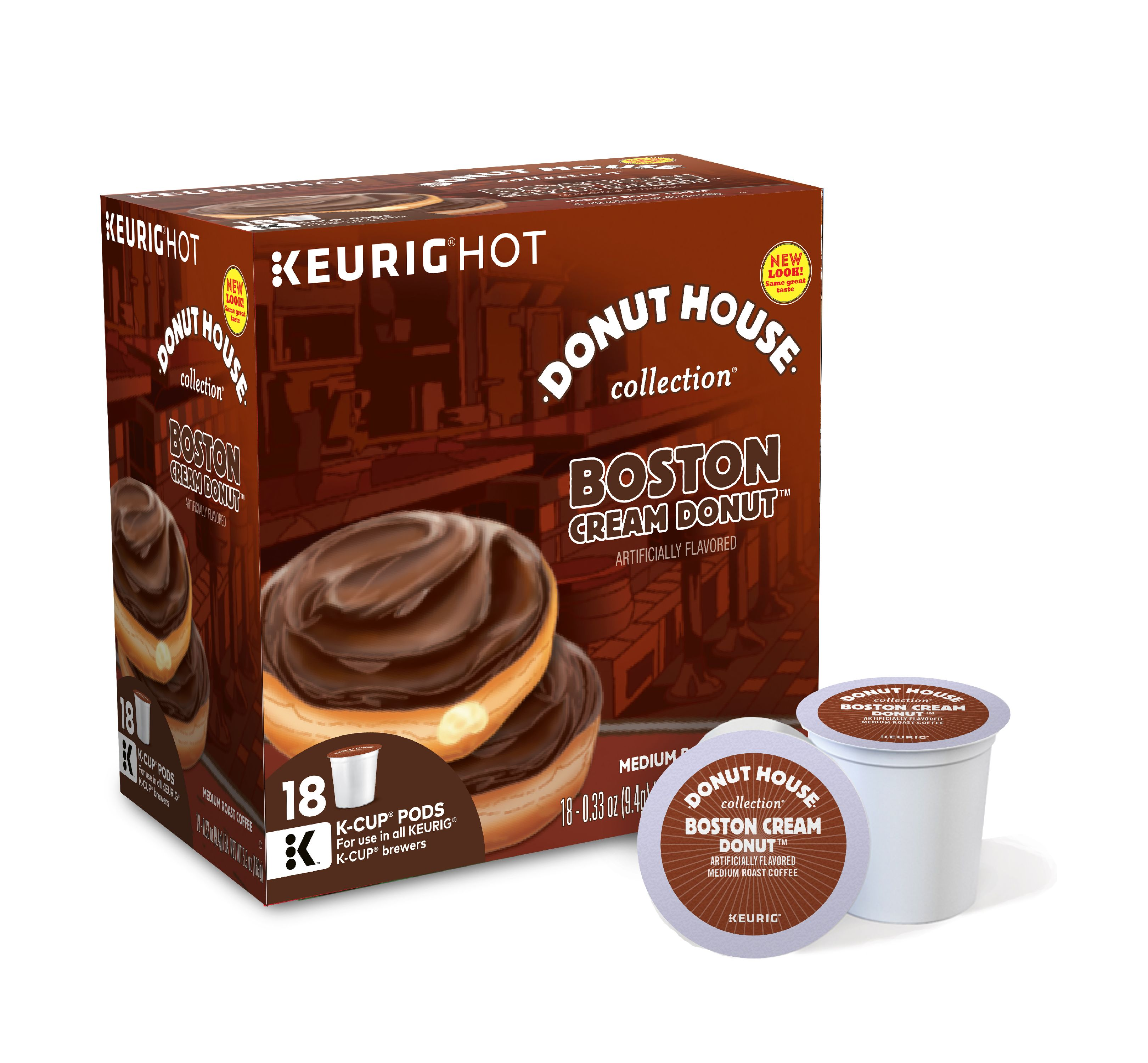 Donut House Collection Boston Cream Donut Keurig Single-Serve K-Cup Pods, Medium Roast, 18 Count