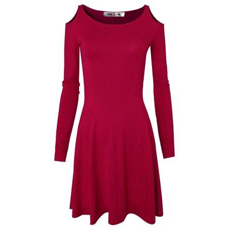 TAM WARE Women Trendy Dolly Cut Out Shoulders Longsleeve Flare Dress (Heart Cut Out Back Dress)
