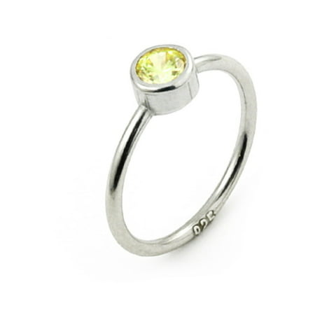 Yellow Cubic Zirconia Bezel Set Stackable Ring Sterling Silver Size 5 24k Set Ring