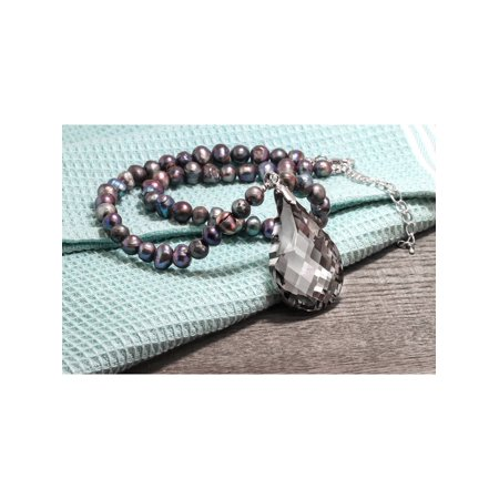"""Black Dyed Cultured Freshwater Pearl Faceted Pendant Necklace 16"""" w/ 2"""" Extender - image 3 of 4"""