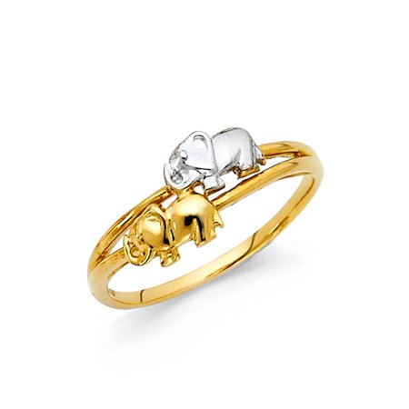 Womens 14K Solid Gold Brilliant Two Tone 2 Elephant Fancy Ring, Size 5.5