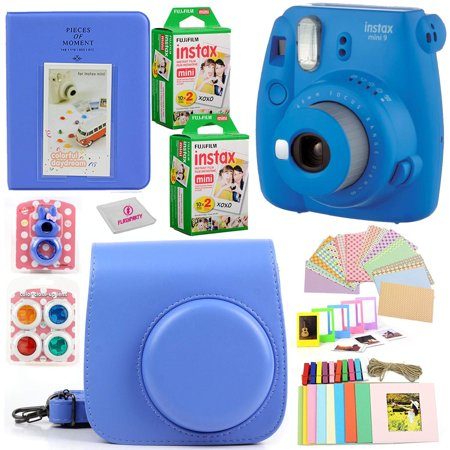 Fujifilm Instax Mini 9 Instant Fuji Camera (Cobalt Blue) + Case + Instant Mini 9 Film 40 Pack + Accessories Bundle: Colorful Picture Frames + Decorative Stickers + Selfie Mirror + Photo Album &