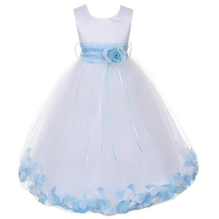 Kids Dream Baby Girls White Satin Baby Blue Petal Flower Girl Dress 18M