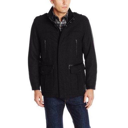 Cole Haan Men's Black Wool Military Car Coat Jacket Leather (Cole Haan Mens Faux Leather Puffer Coat)
