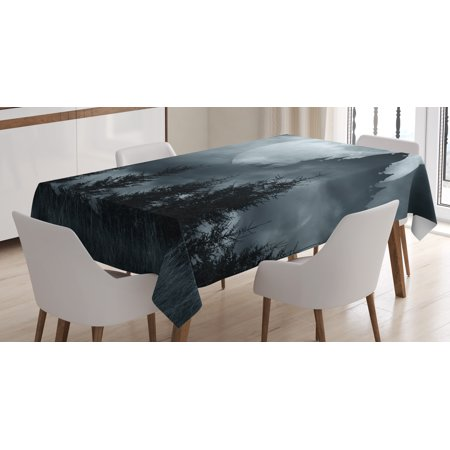 Halloween Tablecloth, Magic Castle Silhouette over Full Moon Night Fantasy Landscape Scary Forest, Rectangular Table Cover for Dining Room Kitchen, 60 X 84 Inches, Grey Pale Grey, by Ambesonne - Halloween Magic Castle