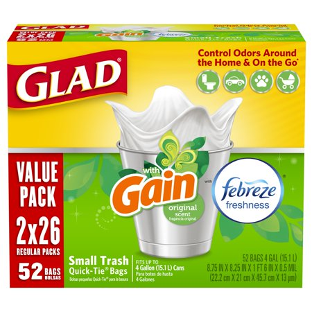 Glad OdorShield Small Trash Bags - Gain Original with Febreze Freshness - 4 gal - 26 ct - 2 pk