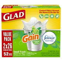 Glad OdorShield Small Trash Bags - Gain Original with Febreze Freshness - 4 gal - 26 ct - 2 pk