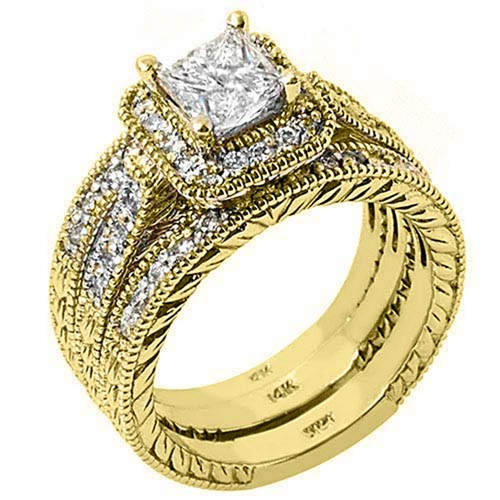 14k Yellow Gold Princess & Pave Diamond Engagement Ring Bridal Set 1.73 Carats