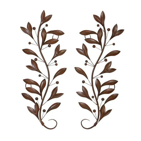 Leaves Metal Wall Art (Decmode Traditional 36 Inch Metal Leaf and Berry Wall Decor - Set of)