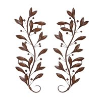 Decmode Traditional 36 Inch Metal Leaf and Berry Wall Decor - Set of 2