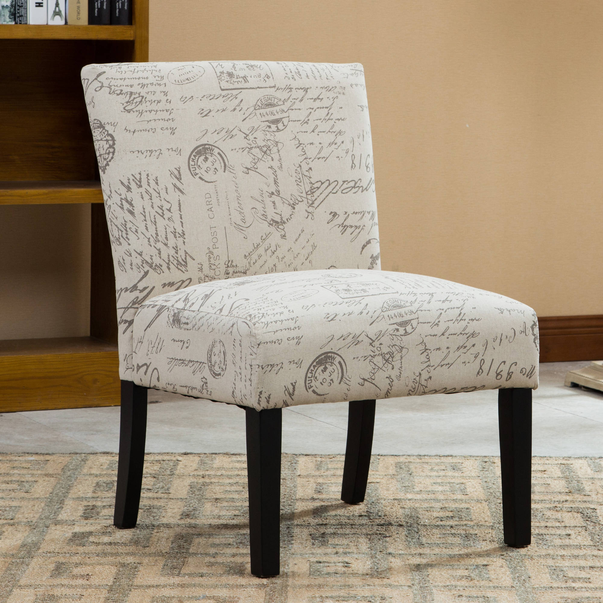 roundhill botticelli english letter print fabric armless accent chair single