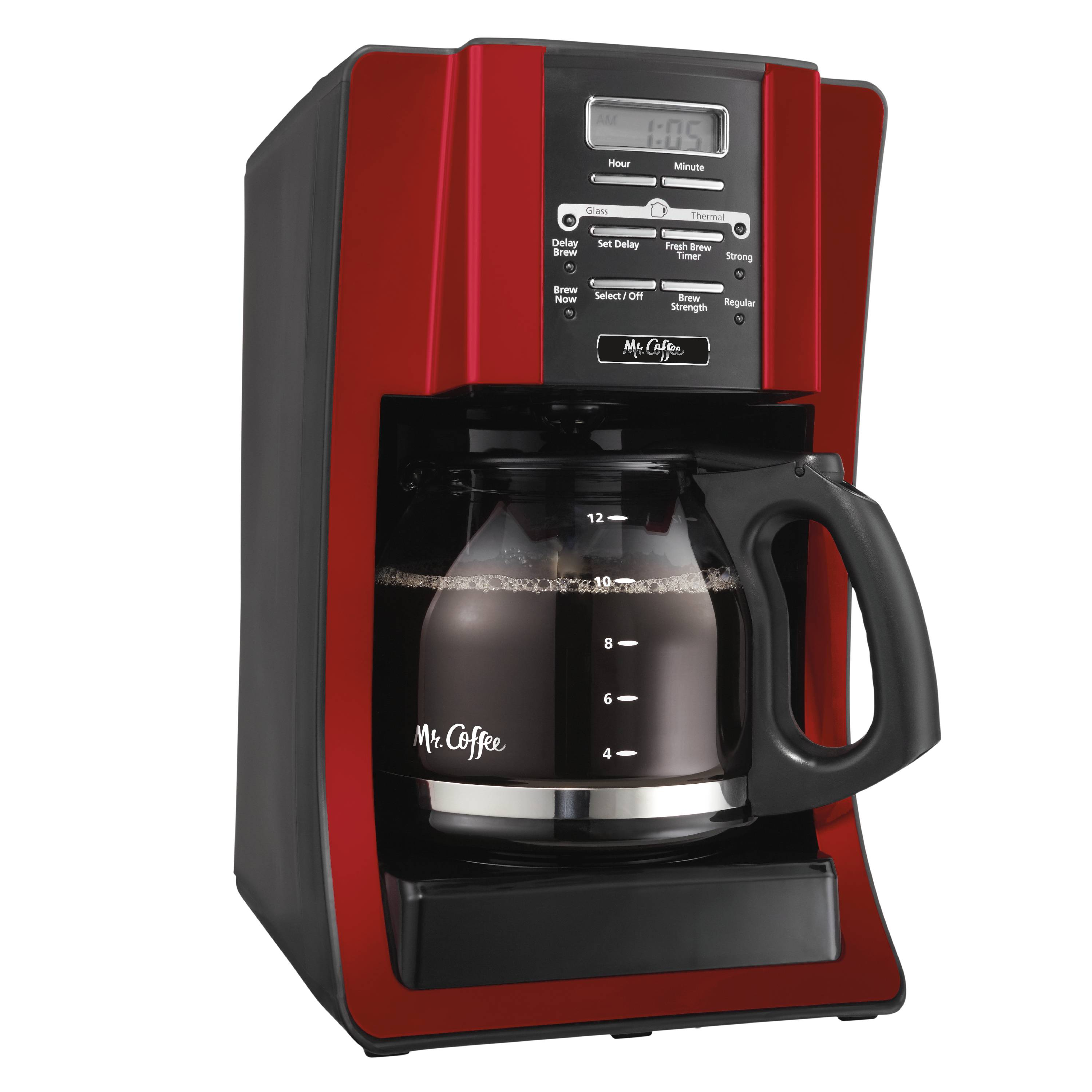 Mr. Coffee Advanced Brew 12-Cup Programmable Coffee Maker, Red (BVMC ...