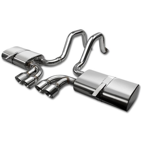 Corvette Rear Exhaust System (For 97-04 Chevrolette Corvette Stainless Steel Catback Exhaust System Quad Rolled Tip 98 99 00 01 02 03 )