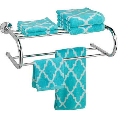 Honey Can Do Wall Mount Towel Rack with Top Shelf, Chrome