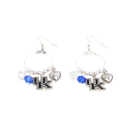 - Kentucky Wildcats Austrian Crystal Silver Blue Charm Hoop Earring Jewelry UK