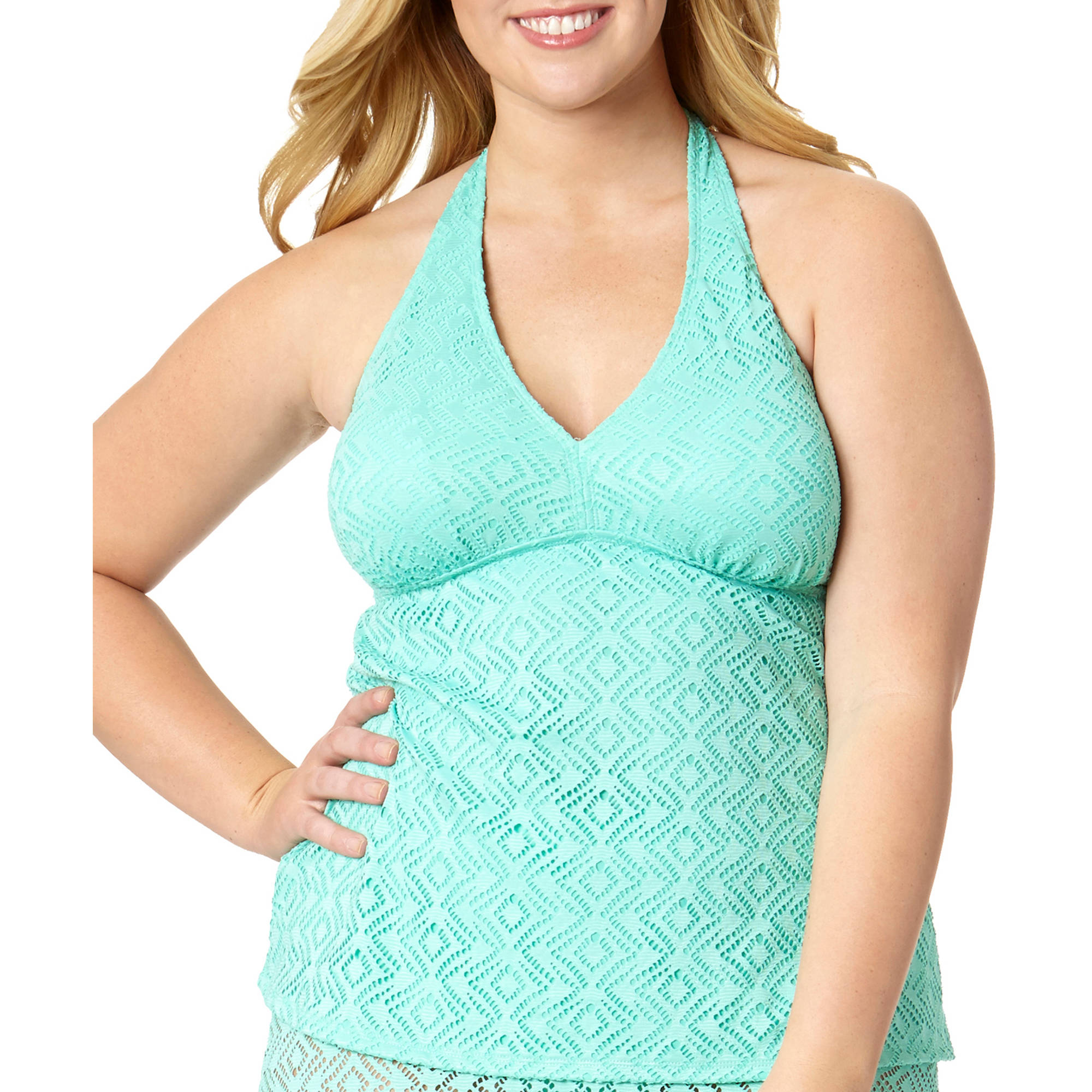 Catalina Women's Plus Crochet Halterkini