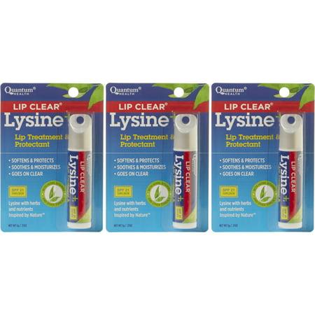 3 Pack Lip Clear Lysine+ Cold Sore Treatment All Natural Lip Balm .17 Oz