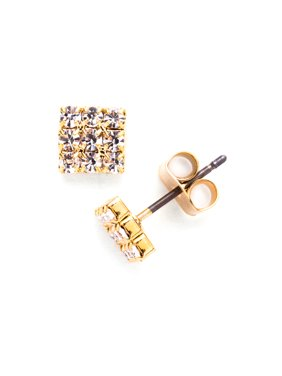 X & O Yellow Gold Plated Crystal 3 X 3 Stud Earring