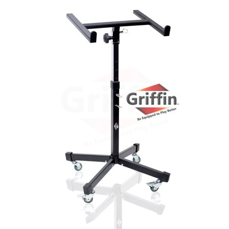 Mobile Studio Mixer Stand DJ Cart by Griffin Rolling Standing Rack On Casters with Adjustable Height Portable Turntable Protect Your Digital Audio Gear and Music Equipment Heavy Duty Construction