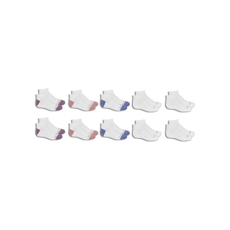 Fruit of the Loom Girl's Everyday Half Cushion Low Cut Socks 10 Pack