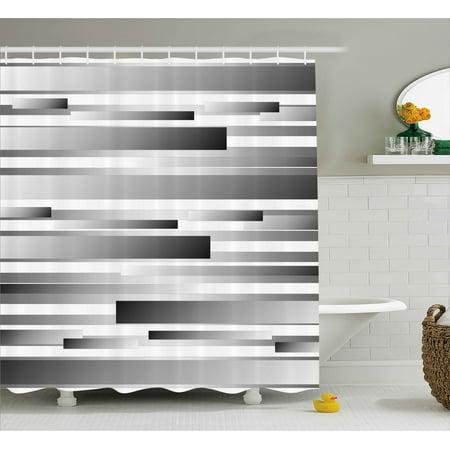 Modern Decor Shower Curtain, Symmetric Geometric Flat Surfaced Fractal Lines Regular Forms Art Print, Fabric Bathroom Set with Hooks, 69W X 84L Inches Extra Long, Silver Dark Grey, by Ambesonne](Geometric Form)