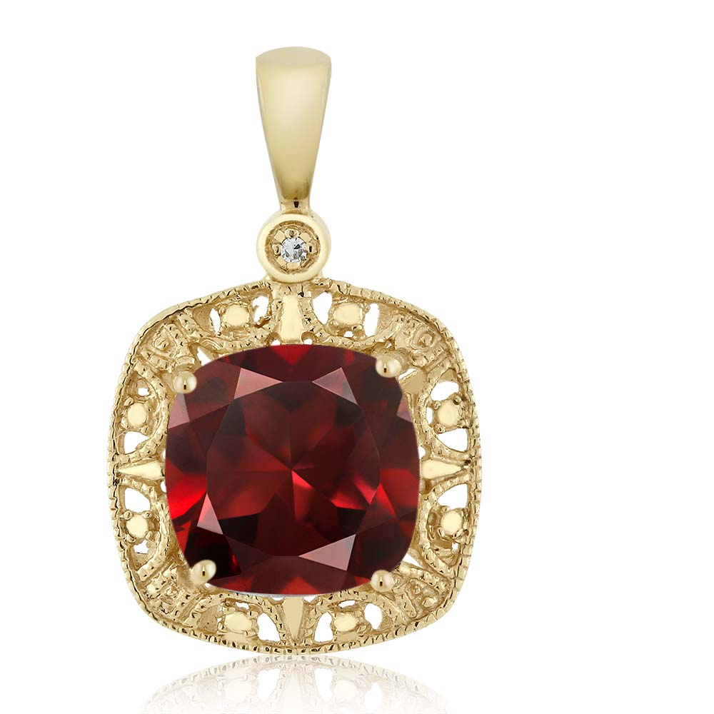 10K Yellow Gold Cushion Red Garnet and Diamond Accent Necklace 2.74 cttw