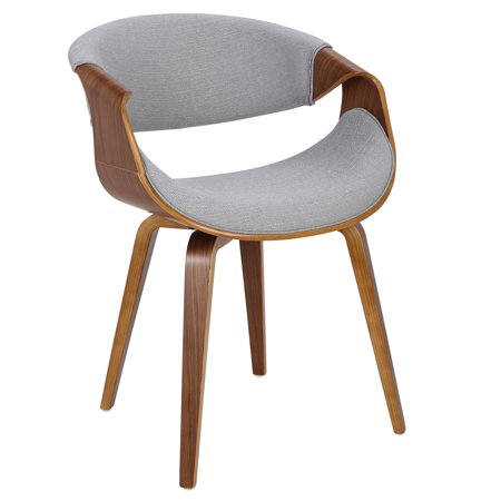Curvo Mid-Century Modern Dining/Accent Chair in Walnut and Grey Fabric by LumiSource ()