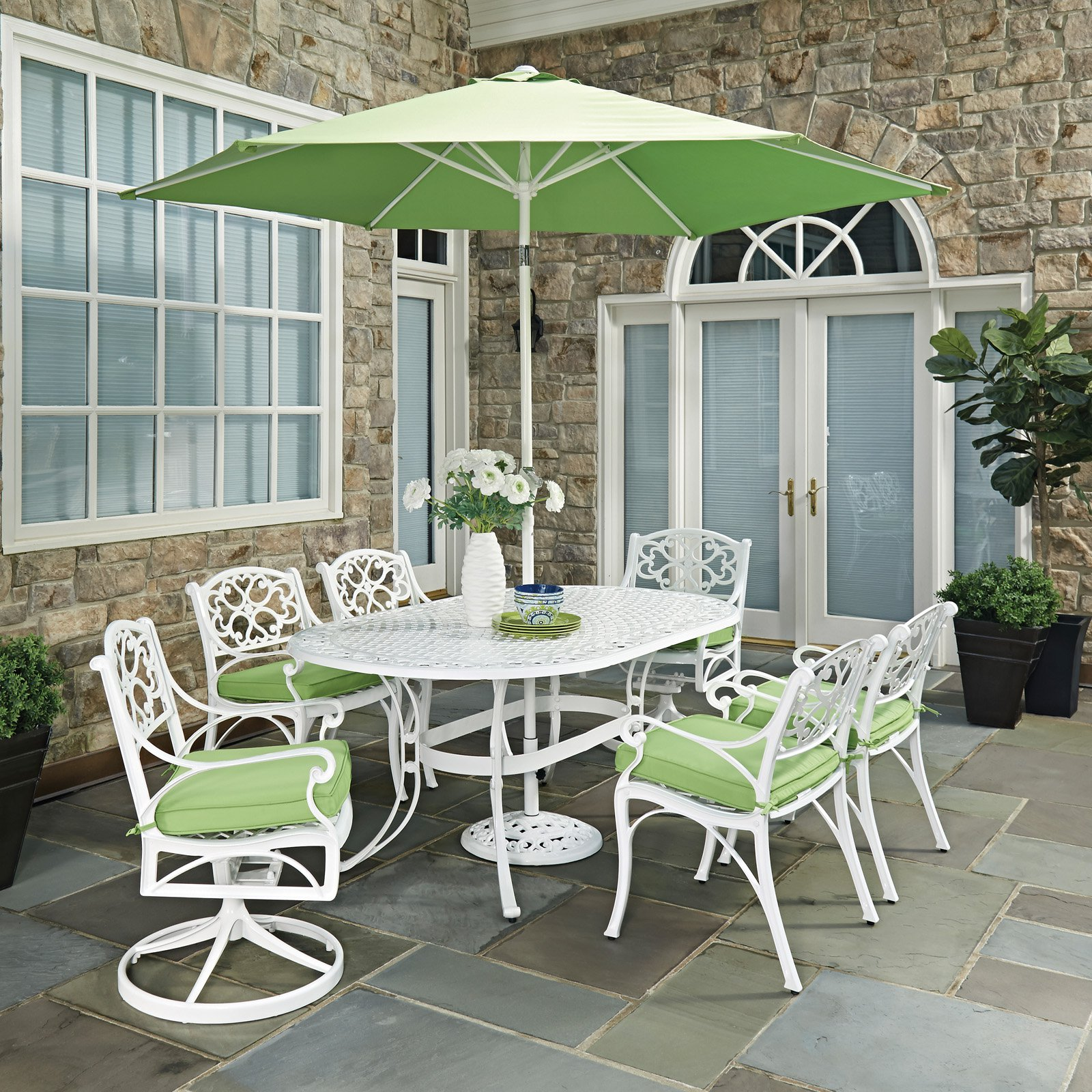 Biscayne White Oval 9 Pc Outdoor Dining Table 4 Arm Chairs 2