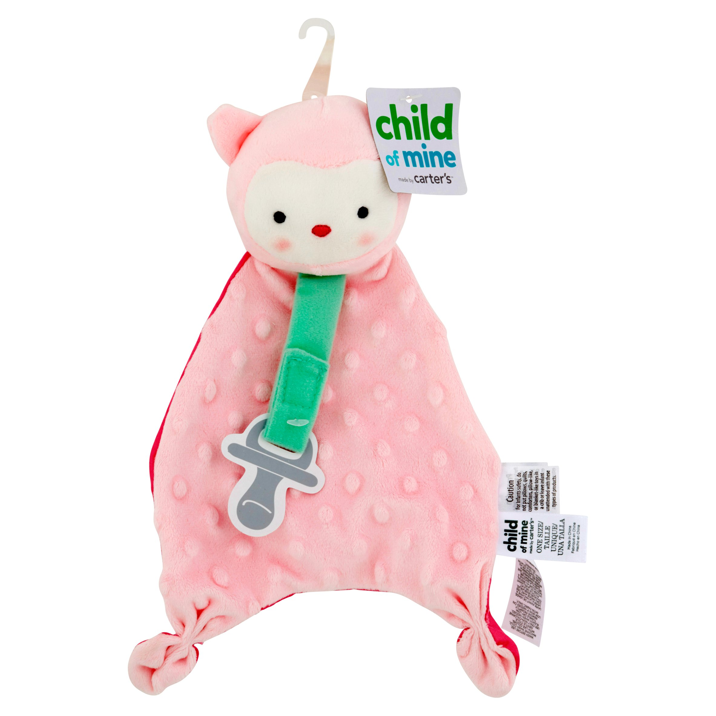 Carter's Child of Mine Owl Security Blanket with Paci Strip, Pink